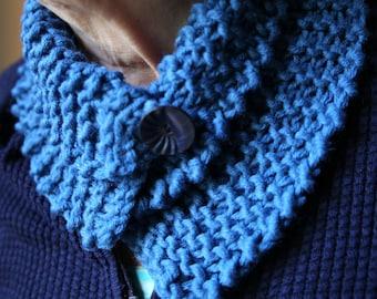 Rustic dark blue wool neck warmer with button