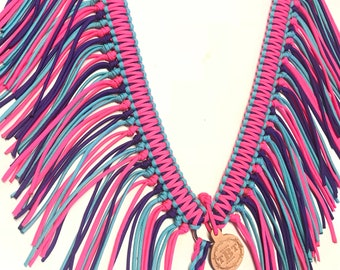 fringe breast collar, custom horse tack, Pink breast collar, fringe horse tack, Purple horse tack, paracord fringe breast collar, horse