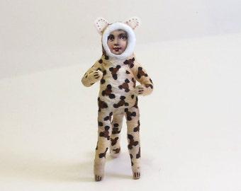 Spun Cotton Vintage Style Leopard Boy Figure/Ornament (MADE TO ORDER)