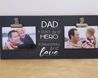 Photo Frame For Dad {A Son's First Hero, Daughter's First Love} Wall Picture Frame, Father's Day Gift For Dad, Dad's Birthday Gift