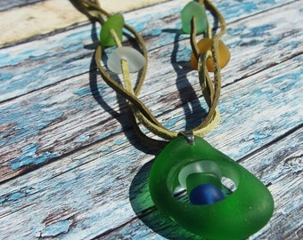 Green Sea Glass Necklace Beach Jewelry Mermaid Necklace Sea Glass Jewelry Beach Wedding Mermaid Jewelry Summer Jewelry