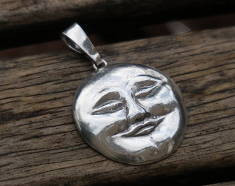Moon Pendant, Moon Face Pendant, Silver Pendant, Statement Pendant, Full Moon Pendant, Silver Moon, Full Moon Jewelry, Round Pendant, Gift