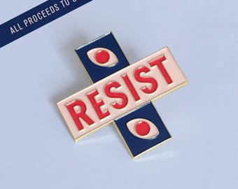 RESIST enamel lapel pin : WATCHING by Erin Rommel