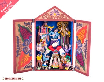 "Peruvian retablo folk art sculpture ""Scissors Dance""- Wood Peru Retablos Diorama - Collectible Peruvian Ornaments - Wood decor Accesories"