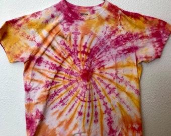 2XL Pink, Orange & Yellow Swirl Tie Dye T-Shirt