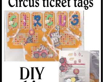 CLEARANCE SALE * Scrapbook Page Circus Scrapbook Paper Layout kit Scrapbooking  Embellishment 3d Circus tags ticket Scrapbook Paper Piecing