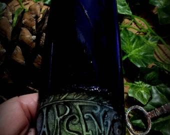 Bottle  Blue Glass Halloween Decoration Arsenic Poison Bottle Ooak