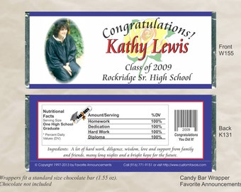 Graduation Party, Custom Candy Bar Wrappers, Custom Graduation Wrappers, College Graduate, High School Graduate  (Set of 12)(W155)