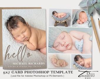 Birth Announcement Template, Photography Photoshop 7x5 PSD Template, sku ba18-1