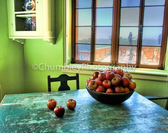 Just Picked-Bowl of Apples Still Life- Fine Art Photographic Print-Kitchen-Cook-Fruit