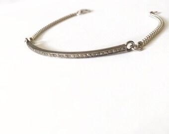 Oxidized sterling silver Bar bracelet / Pave Diamond Bar Bracelet / Minimal Bracelet