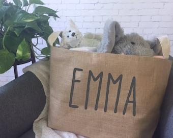 personalized kids toy storage basket/ children's toy bin/ nursery storage/ baby shower gift bag/ toy basket/ toy tote/diaper storage