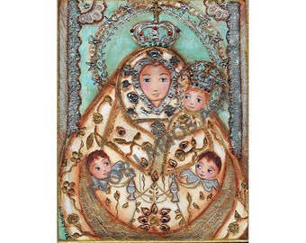 La Virgen del Pino - Aceo Giclee print mounted on Wood (2.5 x 3.5 inches) Folk Art  by FLOR LARIOS