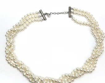 Triple Strand Pearl Necklace with Sterling Silver Clasp