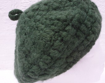 Dark green hat urban beret wool tam Winter head accessory, Vintage hand made 1980s womens granny knit head cover traditional style beret.