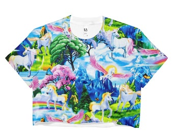80s Clothing Rainbow Unicorn Crop Top Tropical Clouds Lisa Frank Vintage Pin Up Retro Kawaii Festival Clothing Rave Clothing Harajuku