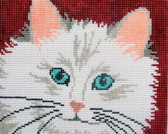 Fluffy Kitty Hand Painted Needlepoint Canvas