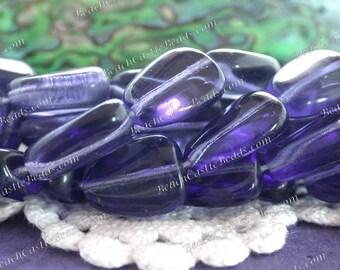 Czech Pressed Glass Beads, Dark Tanzanite Glass Beads, 16 x 12mm Flat Nugget Beads, Purple Glass Beads  CZ-642