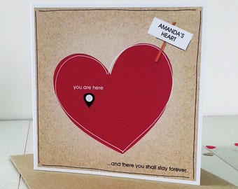 Romantic Valentine Personalised Card - Anniversary Card - My Heart You Are Here