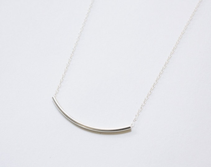 Curved Bar Necklace in Sterling Silver - silver bar necklace - sterling silver necklace - simple silver necklace - curved bar necklace
