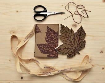 "Handmade mini notebook with recycled paper, handmade mini journal, writers journal, ecofriendly gift, ""foglie d'Acero"""