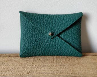 Green leather credit card case