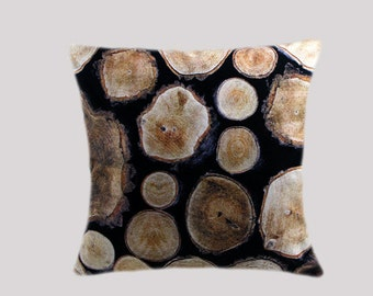"""Decorative Pillow case, Thick Cotton Throw pillow case with Wood slices motif, fits 18"""" x 1 8"""" insert, Toss pillow case, Cushion case."""