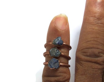 Raw sapphire ring natural crystal ring Rough raw stone jewerly Copper Gemstone Ring Real stone electroformed, size US 4.65 and 5.25