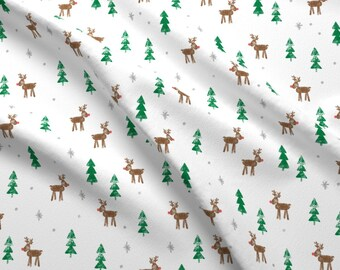 Reindeer Fabric - Reindeer With Trees And Snow (Brown And Green) By Littlearrowdesign - Winter Cotton Fabric By The Yard With Spoonflower