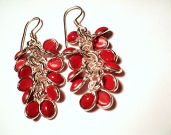 Colourful Genuine Red Sea Coral 925 Silver Plated Dangle Cluster Earrings, Statement, Modern, Minimalist