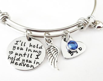 Memorial bracelet, Memorial jewelry, I'll hold you in my heart, Mom Dad Memorial, memory of son, remembrance jewelry, Child loss, Sympathy