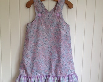Size 3 Girls  Summer Paisley Party Dress Overall. Bottom frill, shoulder straps.