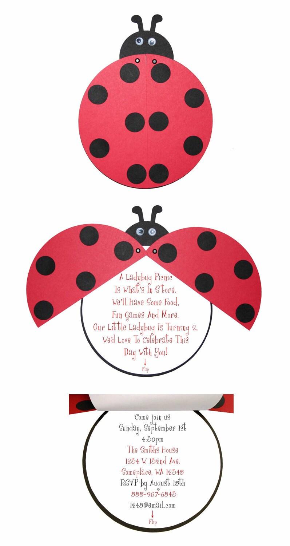 Ladybug invitations birthday party or baby shower