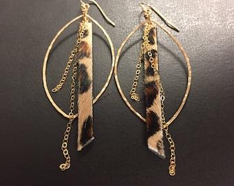 Hoop Earrings - Bohemian Earrings - Leopard Print Leather - 14k Gold Fill