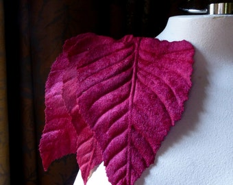SECONDS - 3 Deep Red Velvet Leaves Very Large for Bridal Headpieces, Hats, Floral Supply, Crafts ML 118dr