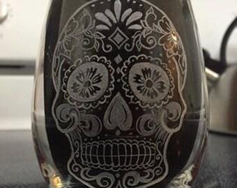 Hand Engraved Sugar Skull Wine Glass