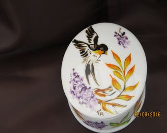 painted white porcelain: bird