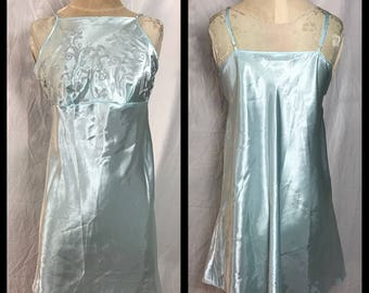 Inner Most Pale Icy Blue Nightgown with Raised Floral Bodice Design - Size Large