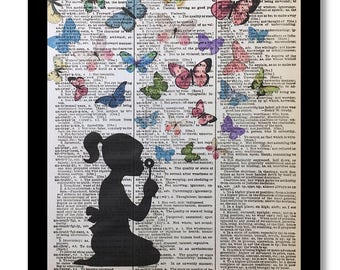 Butterfly Print, Butterfly Art, Butterfly Dictionary Print, Dictionary Art, Dictioanry Prints, Dictionary Page Prints, Butterfly Art Print