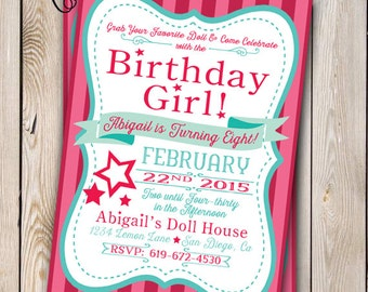 Girl Doll Birthday Doll Invitation Doll Party Customizable 5x7 Printable Girly Doll Party Doll Birthday Doll Store Star Party
