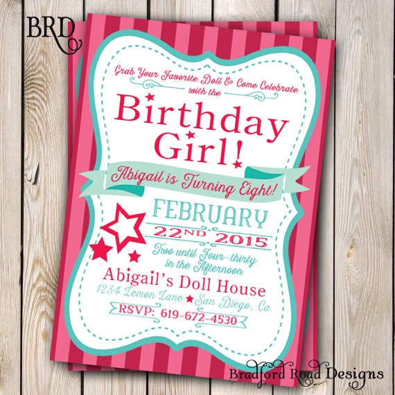 Girl doll birthday doll invitation doll party customizable 5x7 zoom filmwisefo Image collections