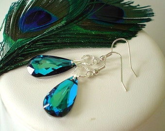 Bermuda Blue Peacock Swarovski Teardrop Beaded Earrings    Great for Bridesmaid Gifts