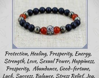 Leo zodiac jewelry Black onyx bracelet Men bracelet Men gift for dad gift for boyfriend birthday gift for husband gift for brother gift him