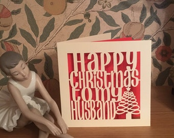 Papercut - Happy Christmas to my Husband Card - Husband Christmas Card - Hubby Christmas Tree Card - Hubby Xmas Card - Husband Xmas Card