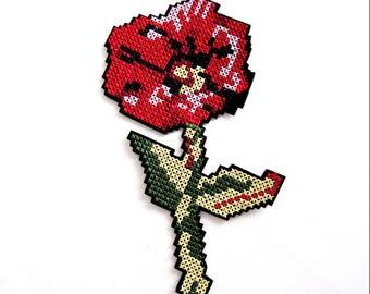 Cross Stitch Iron On Patch,Cross Stitch  Flower Patch,Poppy Patch,