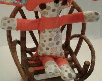 Flannel fennec fox plushie rag doll
