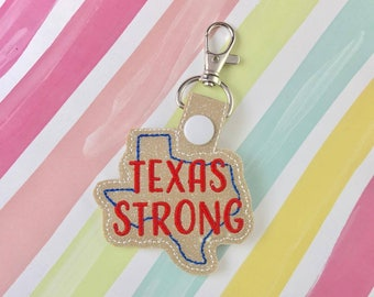 Texas Strong Snap Tab Embroidery Digital File Instant Download key fob, machine embroidery design, in the hoop