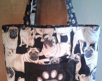 Pug Tote Bag - I Love My Pug Bag - Pug Book Bag - Bag for Dog Lovers - Pug Fabric Bag - Lined Pug Grocery Bag