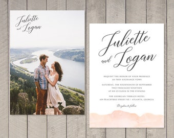 Blush Watercolor Wedding Invitation, RSVP, Details Card (Printable) by Vintage Sweet