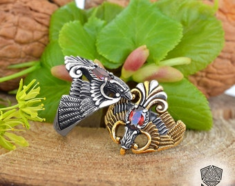 Phoenix Ring. Sterling silver Phoenix. Ring with gemstones. Fire ring. Bird Ring